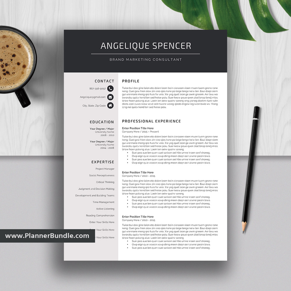 Teacher Resume Template, Job CV Template, 1, 2, 3 Page, Word Resume Design,  Creative and Modern Resume, Cover Letter, Instant Download: Angelique