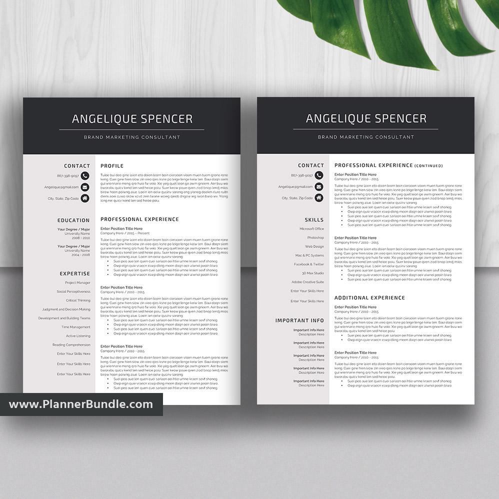teacher resume template  job cv template  1  2  3 page  word resume  creative and modern resume