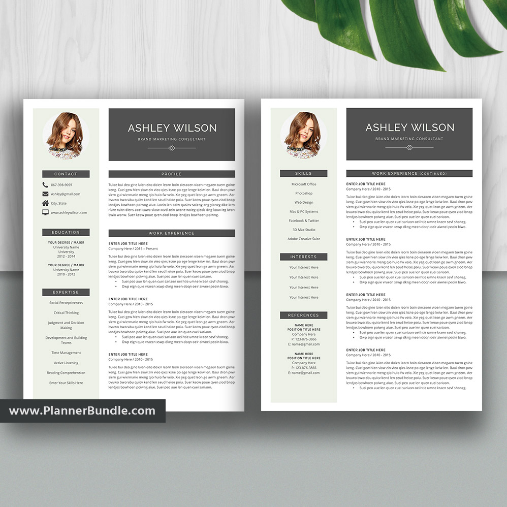 Professional Resume Template Bundle Cover Letter Cv: Resume Templates2020, Professional Resume Bundle, Cover