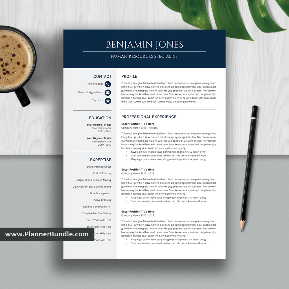 Professional And Simple Resume Template For Ms Word 1 3 Page Cv Template Cover Letter References Creative Resume Teacher Resume Instant Download Benjamin Plannerbundle Com