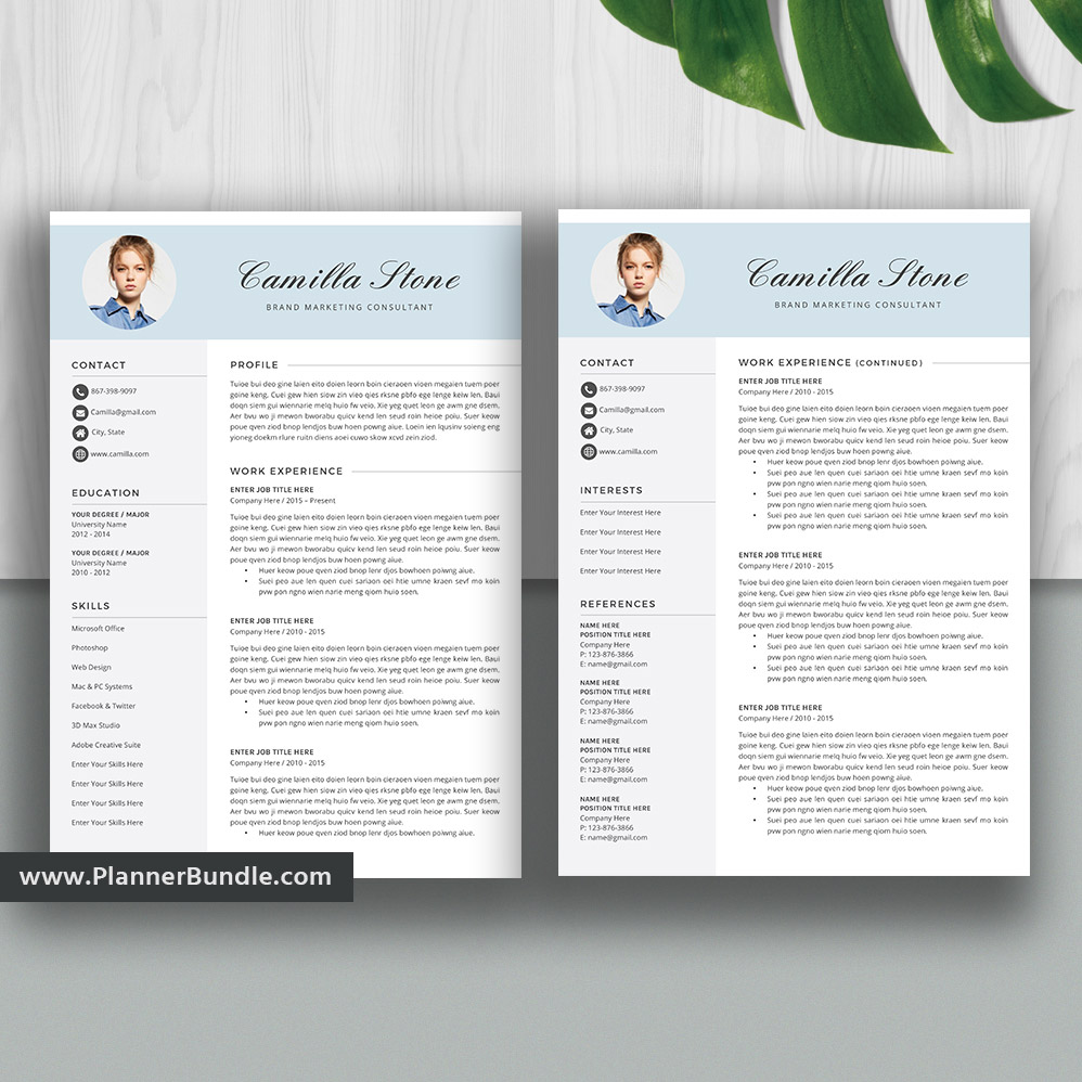 Modern And Creative Resume Template For Ms Word Job Cv Template Professional Resume Design Cover Letter Teacher Resume Cover Letter Instant Download Camilla Plannerbundle Com