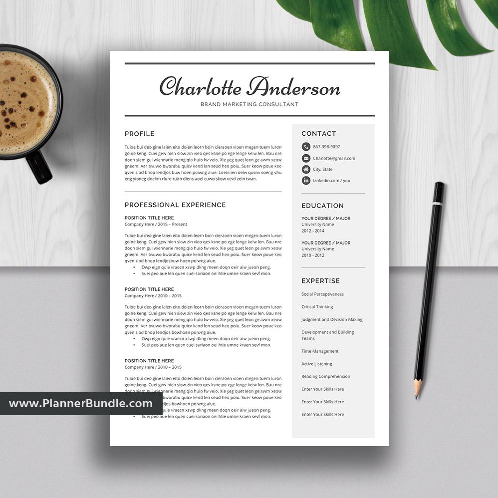 Editable Resume Template Professional And Modern Cv Template Design Word Resume 1 5 Page College Students Interns Fresh Graduates Professionals Charlotte Plannerbundle Com