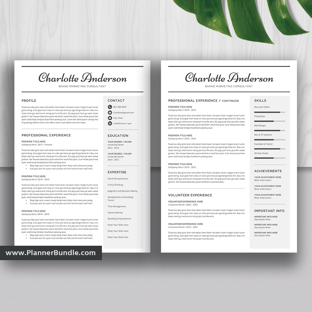 Professional Resume Template Bundle Cover Letter Cv: 2019 Resume Template Word, 1-3 Page Resume Bundle, CV