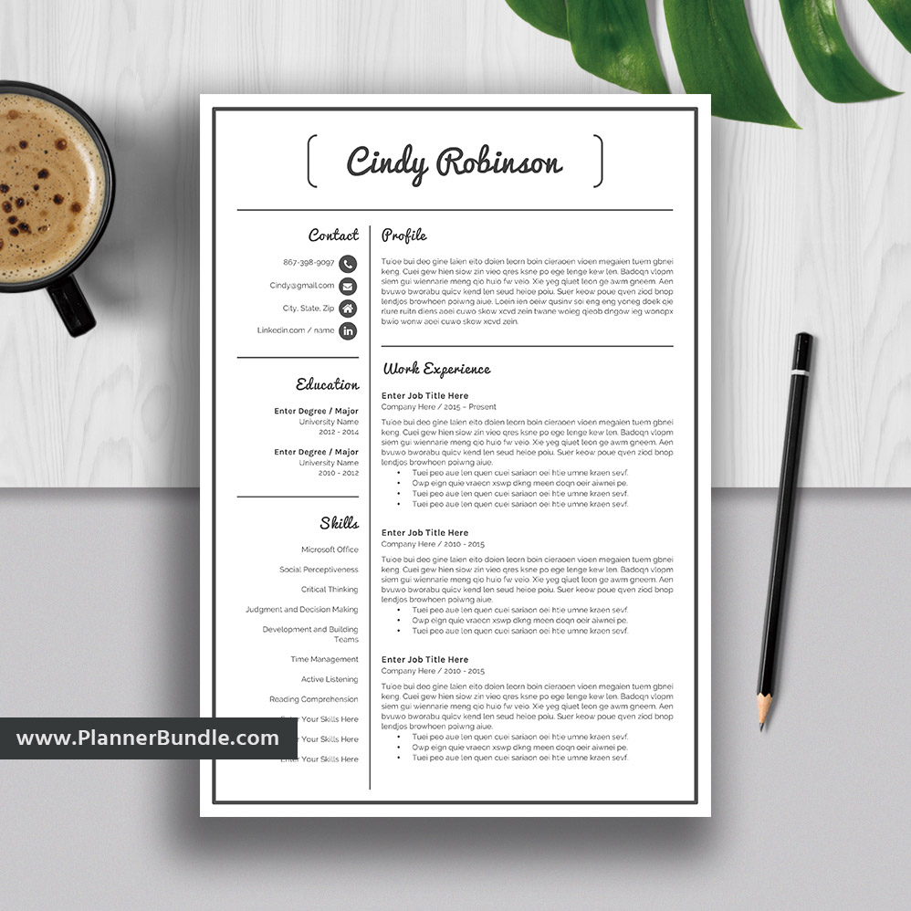Basic Resume Template Word Job Cv Template 2019 Simple Cv Design Professional And Teacher Resume Cover Letter Instant Download Cindy