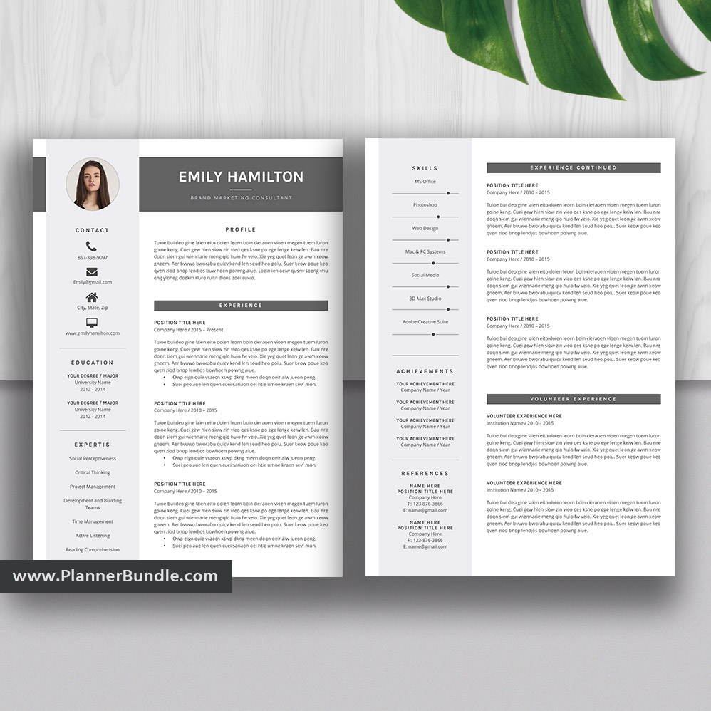 resume templates 2020  elegant resume bundle  cv template