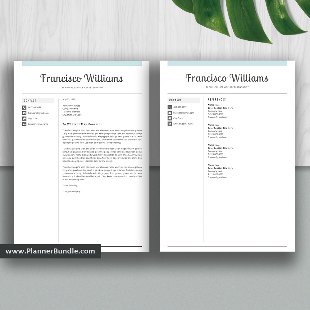 Professional Resume Template 1 3 Page Resume Simple Cv Template Word Resume Instant Download For 2020 College Students Interns Fresh Graduates Francisco Plannerbundle Com