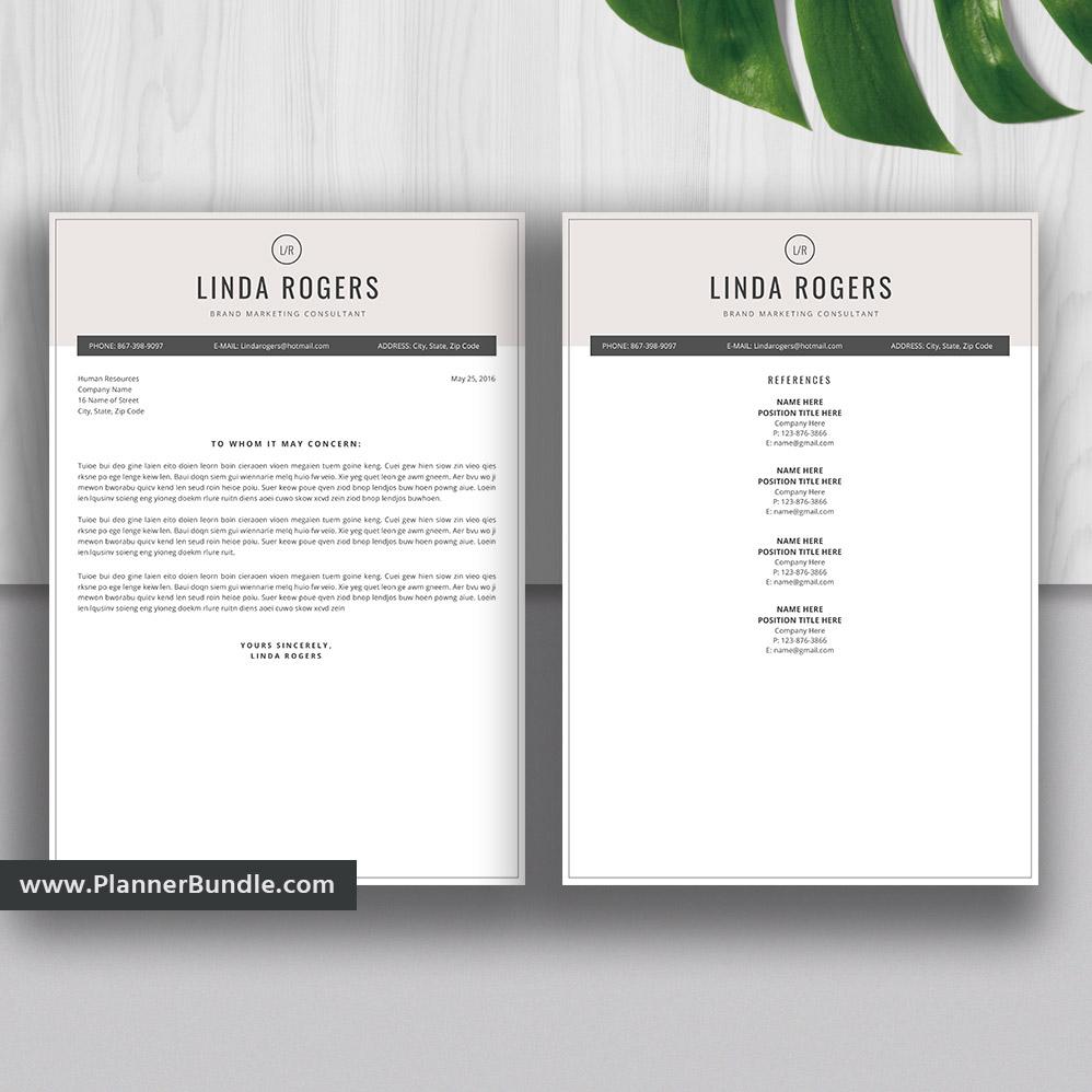 Professional Resume Bundle Cover Letter Cv Template Word Resume