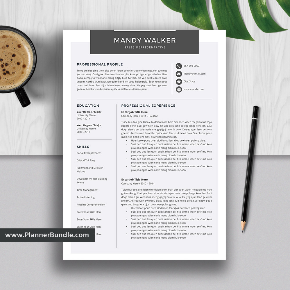 Simple and Professional Resume Template, Modern CV Template Design, MS Word  Resume, Cover Letter, High School Resume, 1-3 Page, Instant Download: ...