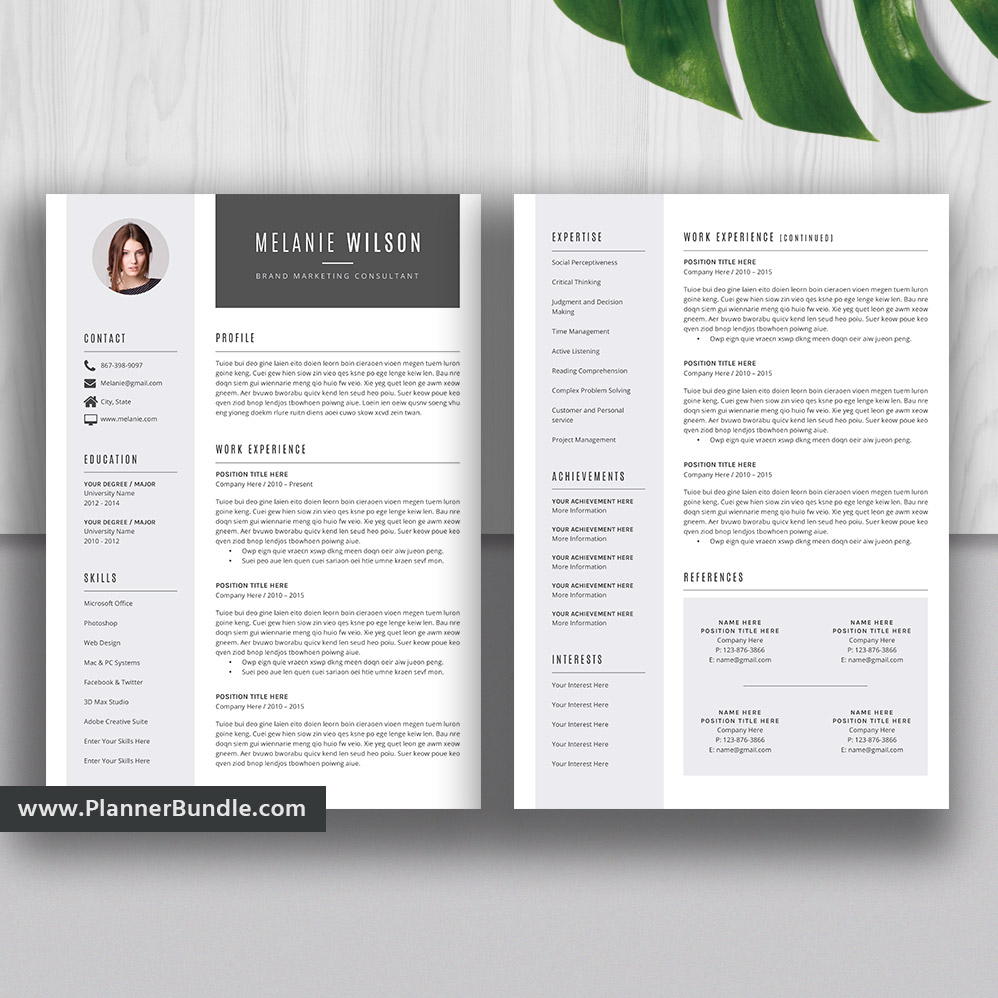 2020 Editable Resume Template Curriculum Vitae Modern Cv Layout