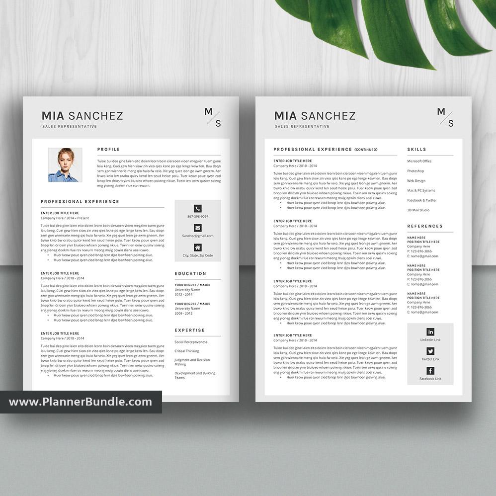 Modern Resume Template 2020 Cv Template Cv Layout Cv: Editable Modern Resume Template, Job CV Template