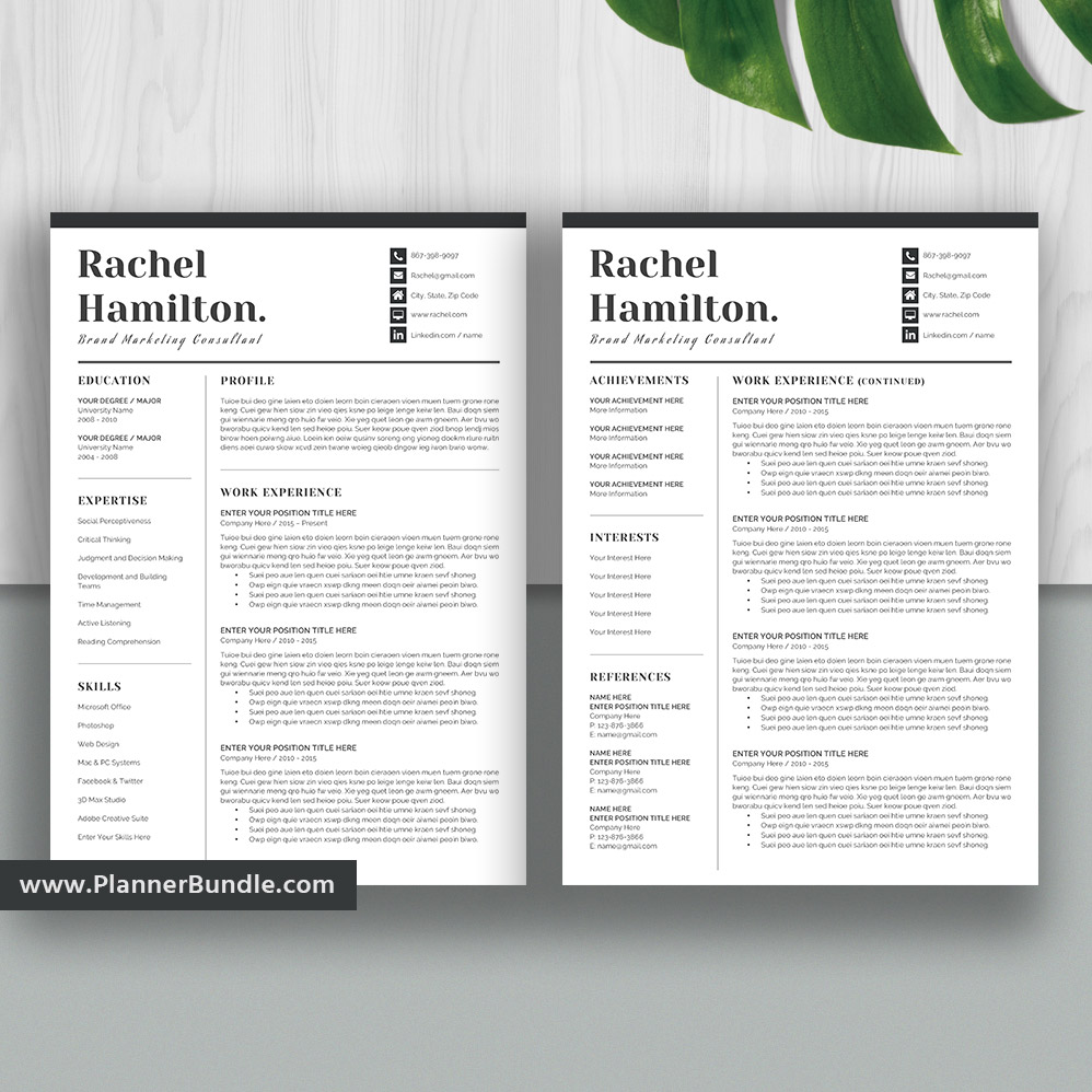 Simple Resume Template Modern Cv Template Word Resume Creative And Professional Resume Design Student Resume Cover Letter Instant Download