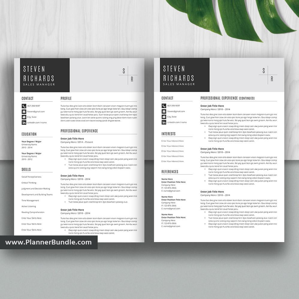 Editable Resume Template 2019 Curriculum Vitae Cv Layout Best Professional Resume Word Resume Design Cover Letter Instant Download Steven