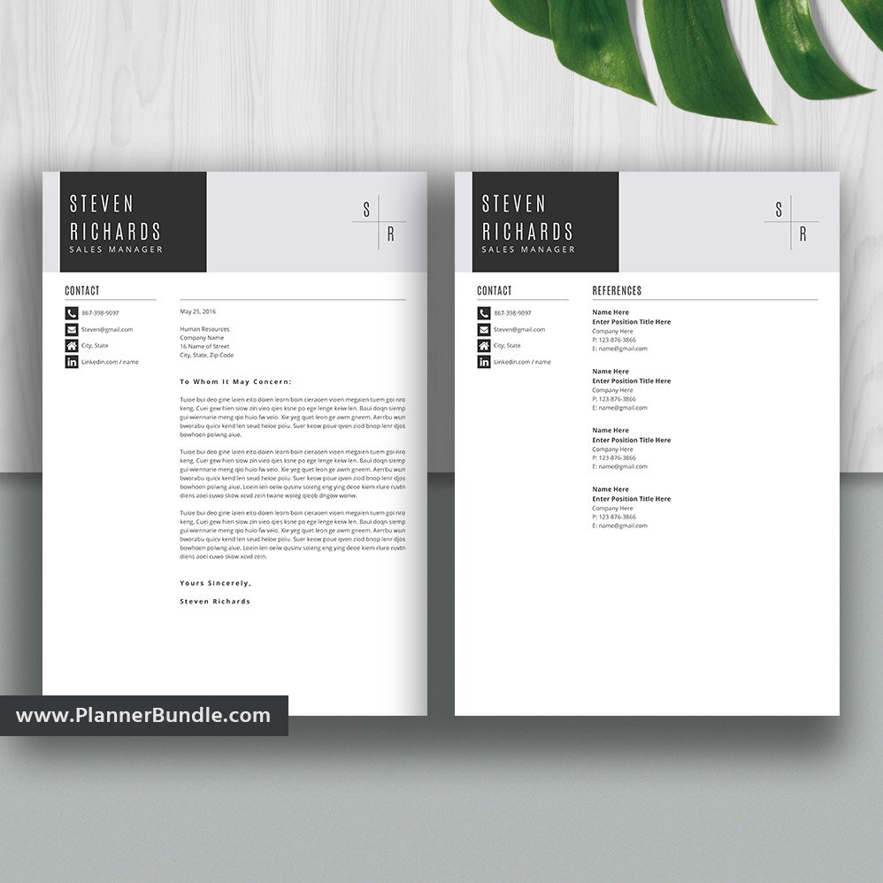 Professional Resume Template For Word Cover Letter References Curriculum Vitae Unique Resume Modern Resume Teacher Resume Instant Download Steven Plannerbundle Com