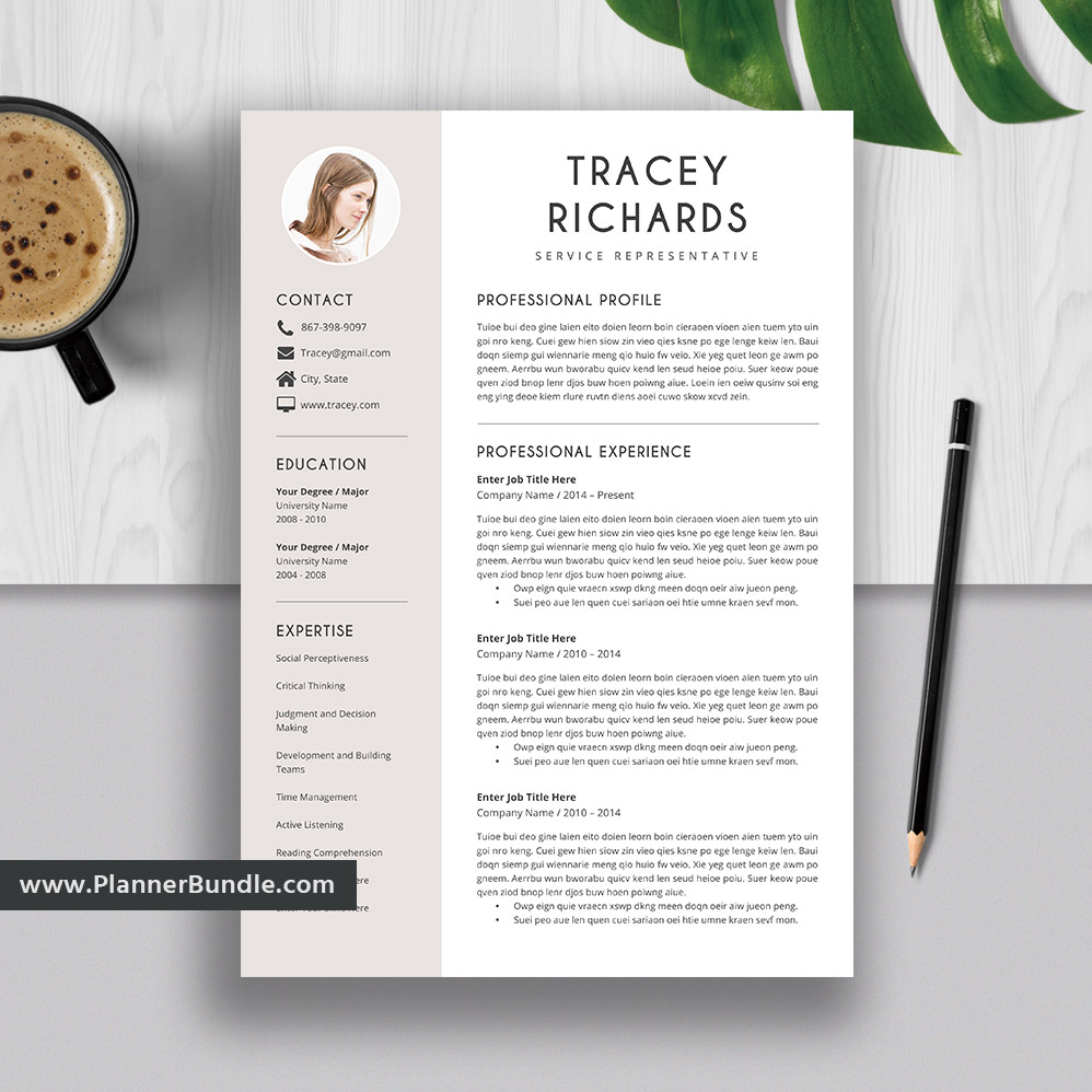 Clean Resume Template from www.plannerbundle.com