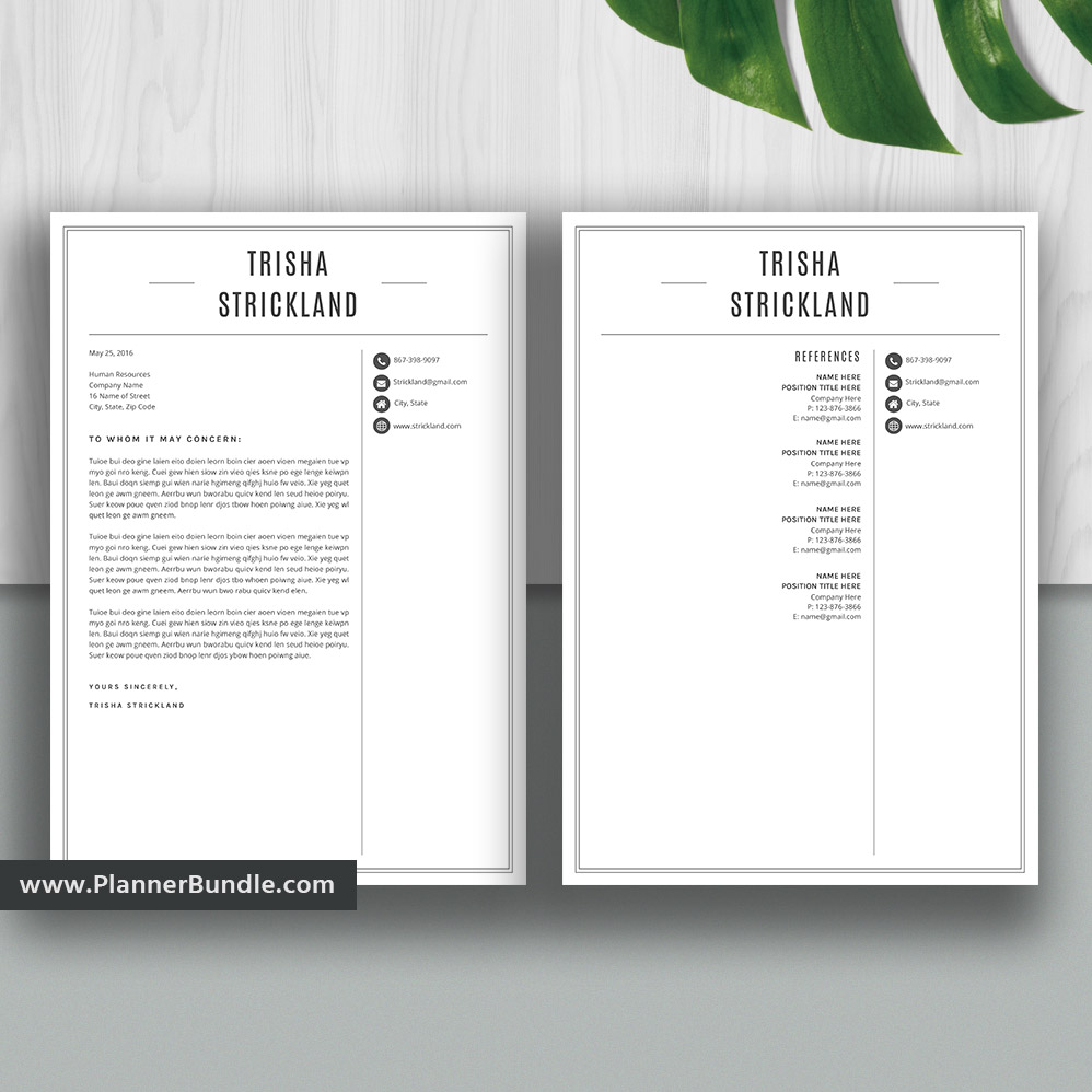 Professional Resume Template Bundle Cover Letter Cv: Resume Templates 2020, Professional Resume Bundle Word, CV