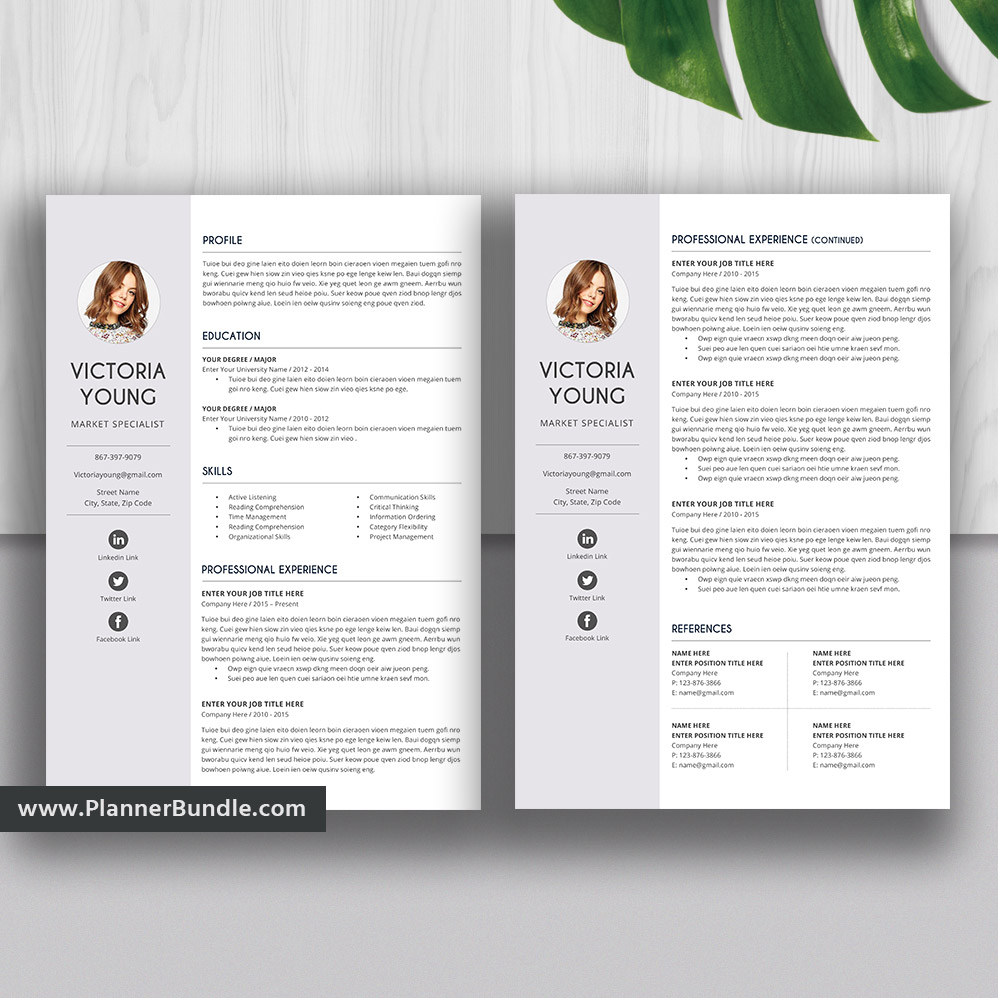 Professional Resume Template Design Cover Letter Simple Cv Template Word Resume 1 3 Page Resume Modern Resume Teacher Resume Instant Download