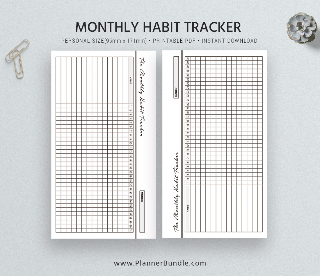 Habit Tracker 2020 Monthly Habit Tracker Printable Habit Planner Personal Size Inserts Instant Download Planner Pages Planner Design Best Planner Plannerbundle Com